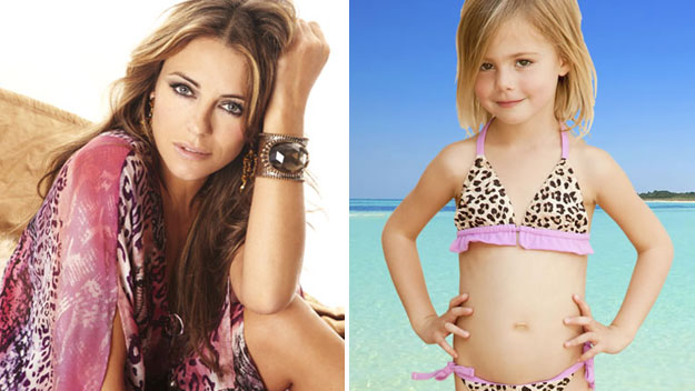 Elizabeth Hurley has been accused of sexualising young girls through her bikini designs